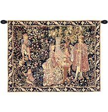 """MEDIEVAL TAPESTRY NOBLE LADY PLAYING ORGAN DAME ORGUE 25""""x32"""""""
