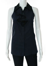 NWT PRADA Navy Blue Cotton Sleeveless Button Front Ruffled Blouse Sz IT 44