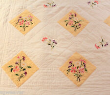 "Wamsutta Full White & Yellow Floral Embroidered Quilted Coverlet Quilt 69"" X 88"""