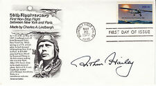 ARTHUR HAILEY hand signed autographed 1977 Charles Lindbergh FDC First Day Cover