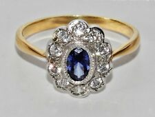 Art Deco 9ct Yellow Gold on Silver Blue Sapphire Lady Diana Cluster Ring size P