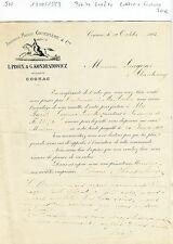 Dépt 16 - Cognac - Petite Entête Lettre + Facture d'une Maison de Cognac de 1883