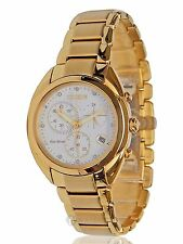 NEW WOMENS CITIZEN ECO-DRIVE (FB1392-58A) CELESTIAL GOLD TONE DIAMOND WATCH