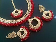 Indian Ethnic wedding jewellery set,  diamonte tika earrings necklace Red Gold