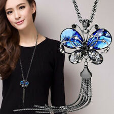 Unique Women Long Chain Necklace Animal Blue Crystal Jewelry Butterfly Necklaces