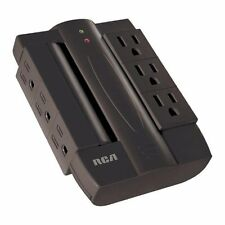 RCA PSWTS6BF Wall Tap Surge Protector with 6 Swivel Outlets- Black- 1200 Joules