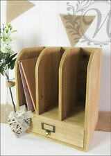 Vintage Wooden Desk Office Organizer Storage Filing Mail Holder Letter File
