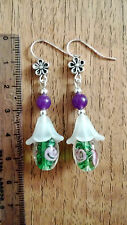 handmade Dangle Earrings jewellery silver plated, lampwork beads