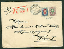 FINLAND 1909 20 kop + 50 kop Rings Issue reg to Austria Facit $2,000.00