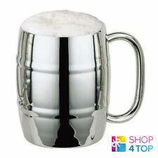 BEER MUG IRON CHILLER CUP DOUBLE WALL STRONG SILVER STAINLESS STEEL NOVELTY GIFT