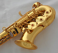 Professional Gold TaiShan Curved Soprano Sax Bb Saxophone Abalone Key With Case