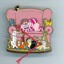 Disney CATS Alice Cheshire Dinah Si & Am Aristocats Oliver Figaro Lucifer Pin