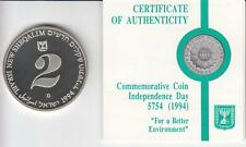 """1994 ISRAEL 46th ANNIVERSARY """"FOR A BETTER ENVIRONMENT"""" PR COIN 28.8gr SILVER #1"""