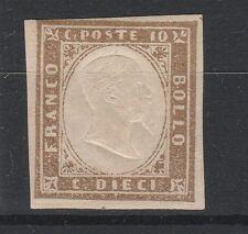 FRANCOBOLLI 1861 SARDEGNA C. 10 BRUNO TENUE MLH Z/3923