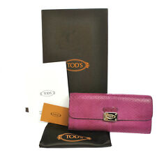Authentic TOD'S Vintage Logos Bifold Wallet Purse Pink Python Leather V01909
