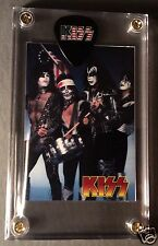 Great Looking KISS rarer promo only card & flag logo guitar pick display!!!