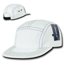 White Cotton 5 Panel Stitch Solid Biker Racing Jockey Adjustable Cadet Cap Hat