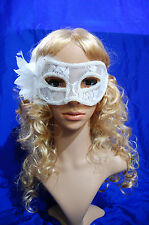 White Black Red Lace Venetian Masquerade Carnival Party Eye Mask With Feather