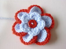 2x7cm Baby Blue/Red Sparkle Crochet Flowers Embellishments/Applique in Sirdar Dk