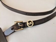New Michael Kors Brown Leather Thin Belt Signature Logo Buckle Small
