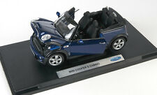 Spedizione LAMPO MINI COOPER S CABRIO Scuro Blu Welly Modello Auto 1:18 NUOVO & OVP
