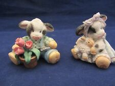 Enesco Moo Moo's  figurines, 2 Cows, One with a Lamb, One Planting Flowers