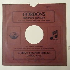 "record sleeve for 78rpm 10"" gramophone disc : GORDONS , GREAT NEWPORT ST LONDON"