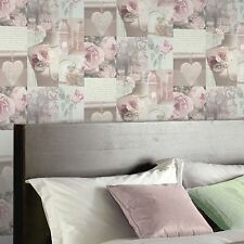 CHARLOTTE FLORAL WALLPAPER ROLLS - BLUSH - ARTHOUSE 665200 NEW PINK GREY