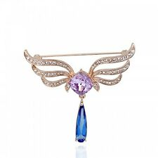GORGEOUS 18K ROSE GOLD PLATED SWAROVSKI CRYSTAL PURPLE & BLUE DANGLE  BROOCH