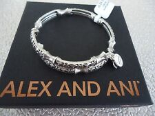 Alex and Ani SECRET GARDEN WRAP Russian Silver Finish Bangle New W/ Card & Box