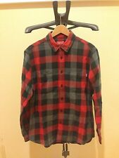 Authentic Supreme Flannel Red and Gray Plaids Checks Size Large Rare CDG