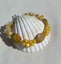 "Yellow Jasper, Pearl & Yellow Jade Crystal Gemstone Bracelet ""Golden Days"""