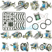 14 in1 Solar Powered Car Robot Boat Building Block Assembly Teaching Kit Toy Kid
