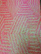 """Pink Hologram Bombshell Sequin Stretch Lace Apparel Fabric - BTY - 54"""" / 55"""""""