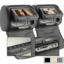 "TOP 2pcs 7"" Gray Car DVD Player Headrest Monitor+Free Game Handles, FM, SD,USB,"