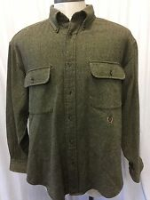 Tommy Hilfiger Men's Heavy Wool Tweed Button Down Long Sleeve Shirt Size Large