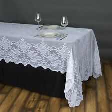 WHITE 60x126 RECTANGLE Floral LACE TABLECLOTH Wedding Party Catering Kitchen