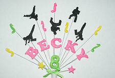 Dance, hip hop musical notes  birthday cake topper personalised any name and age