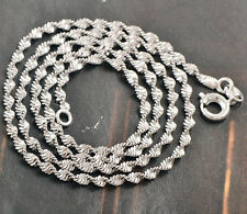 New 9K White Gold Filled Wave Chain -Womens Chain Link Necklace 17inches