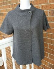 Cynthia Rowley Dark Gray Cashmere Knit Short Sleeve Sweater Cardigan Size M