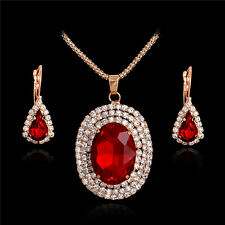 Lady Fashion Red Gem Jewelry Set 18K Gold Plated Chain Necklace+Dangle Earrings