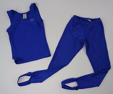 Vintage Spandex Unitard Bodysuit Stirrup Pants Tank top Set Shiny Purple Size S