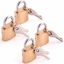 SET OF 4 Brass 25mm Padlock Hand Luggage/Suitcase Travel Bag Security Lock + Key