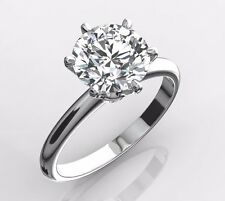 Certified 1.00 Carat D VVS2 Round EX Cut Diamond Solitaire Ring 18k White Gold