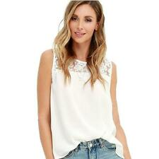 Women Chiffon Lace Sleeveless Shirt Loose Fashion Blouse Casual Tank Tops Vest