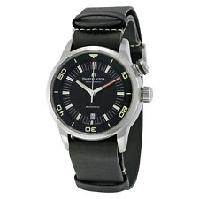 Maurice Lacroix Pontos S Diver Automatic Black Dial Black Leather Mens Watch
