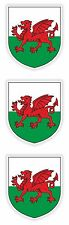 Wales Stickers 3x Coat of Arms for Tablet PC Locker Helmet Hard Hat Door Fridge