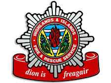 4x4 inch HIGHLANDS and ISLANDS Fire Service Crest Shaped Sticker -firefighter
