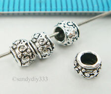 6x OXIDIZED STERLING SILVER FLOWER RONDELLE SPACER BEAD 4.4mm #2166