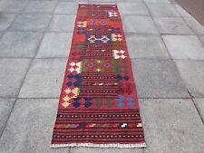Old Hand Made Afgano Tradizionale Lana Tribale Rosso Marrone Kilim Runner 270x78cm